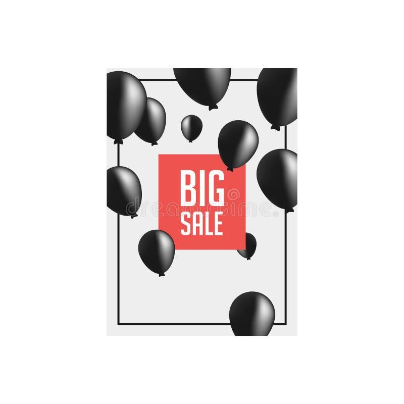 Черные воздушные шары открытия в рамке r Предложение большой продажи особенное Черное знамя особенного предложения воздушных шаро бесплатная иллюстрация