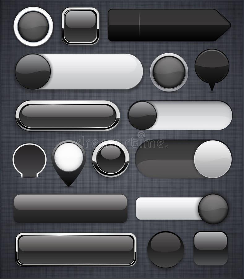 Черные высок-детальные самомоднейшие кнопки. иллюстрация вектора