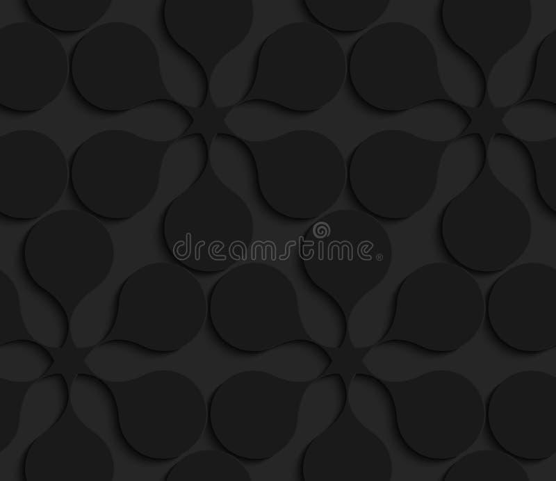 Черные геометрические абстрактные цветки 3d иллюстрация вектора