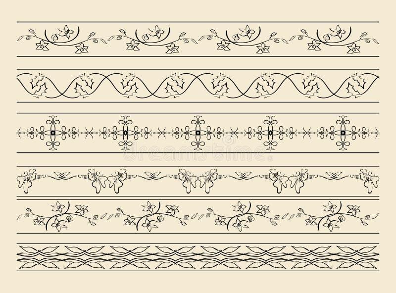 Черные декоративные орнаменты - комплект вектора иллюстрация штока