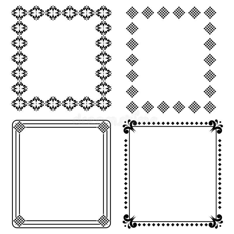 черные декоративные рамки иллюстрация вектора