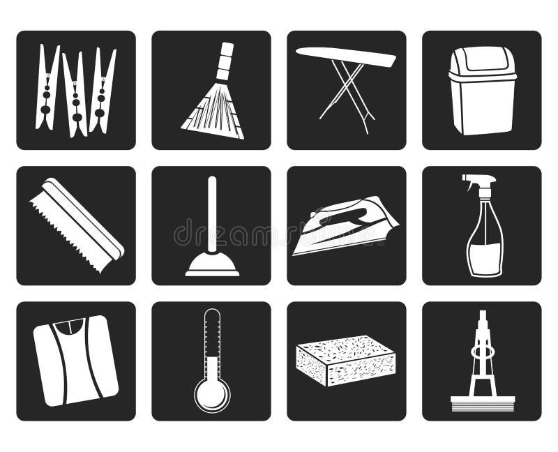 Черные домашние объекты и значки инструментов иллюстрация вектора