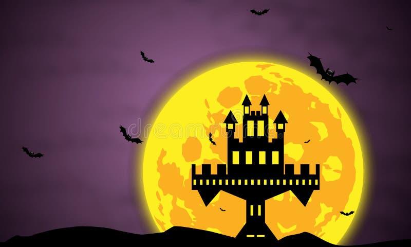 Черные замок и летучие мыши на заднем плане луны иллюстрация вектора