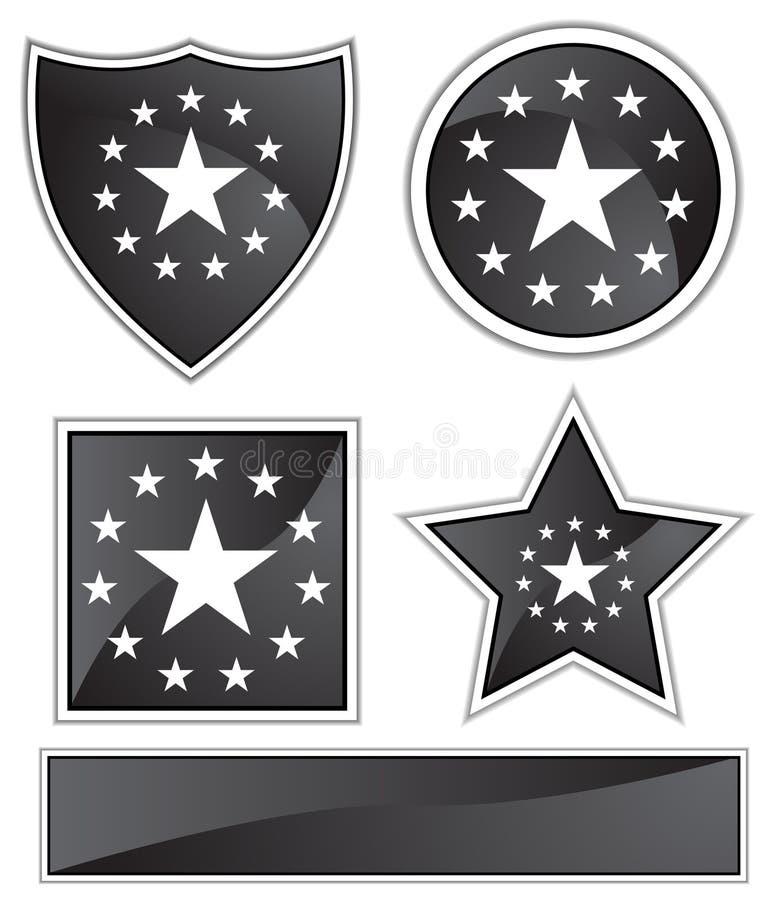 черные звезды сатинировки иллюстрация штока