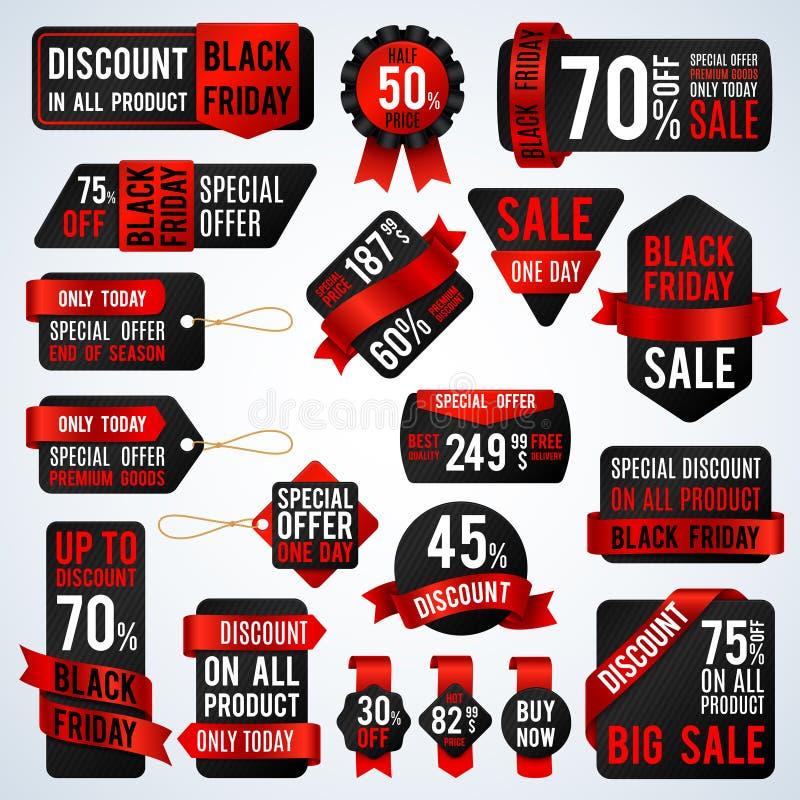 Черные знамена продажи пятницы и ярлыки ценника, продающ карточку и комплект вектора стикеров скидки бесплатная иллюстрация