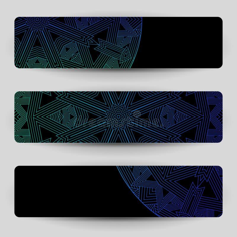 Черные знамена с голубым геометрическим украшением бесплатная иллюстрация