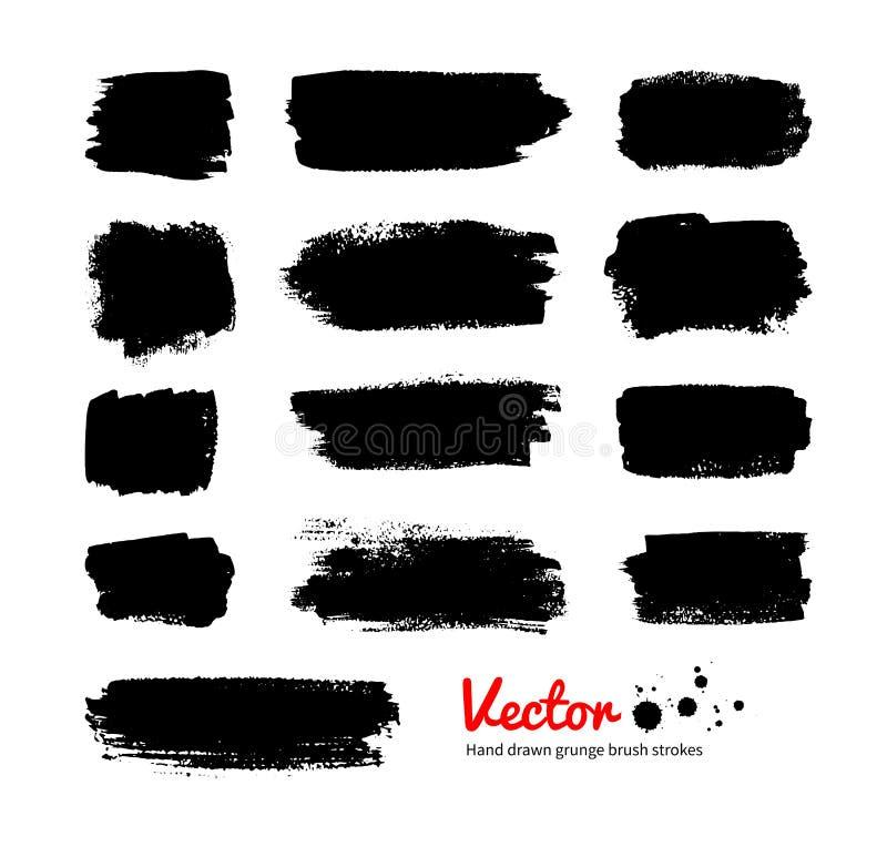 Черные знамена grunge иллюстрация вектора