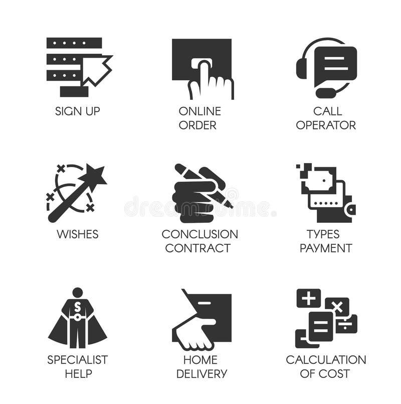 Черные значки в плоском дизайне дела, онлайн заказов и оплат, быстрой поставки, контакта заключения и других символов иллюстрация штока