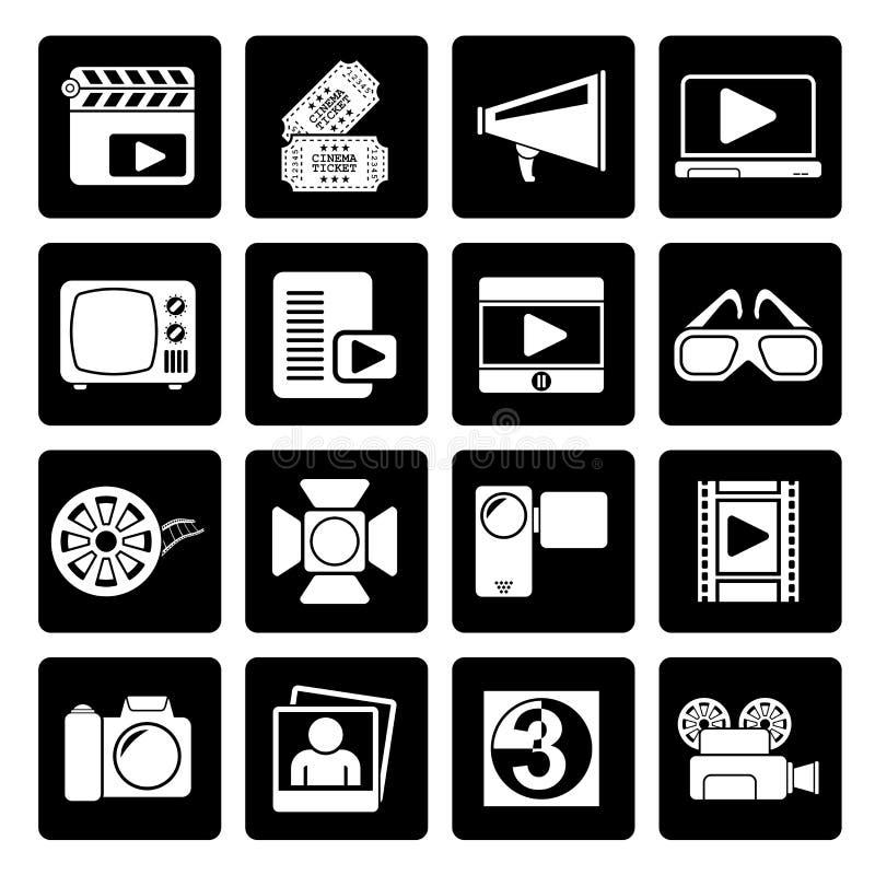 Черные значки кино и кино иллюстрация штока