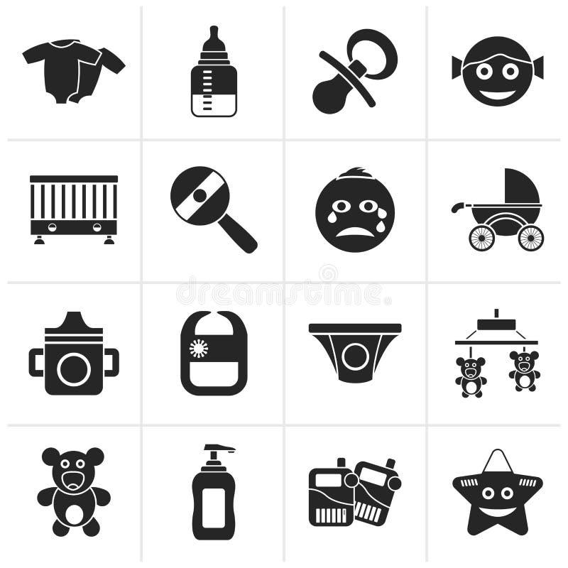 Черные значки младенца, детей и игрушек иллюстрация штока