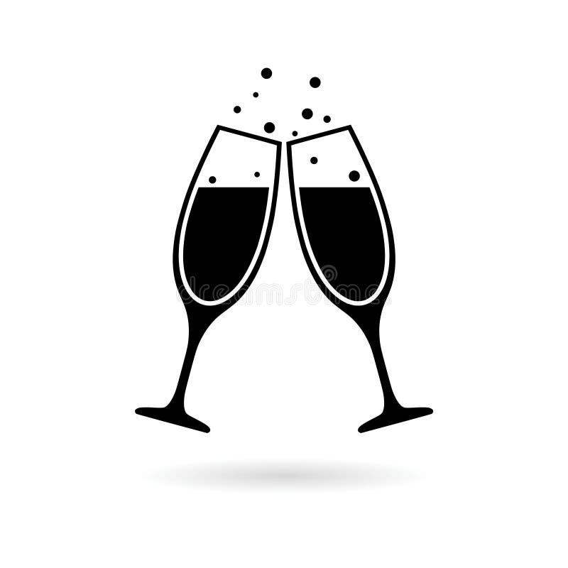 Черные значок Шампань стеклянные или логотип, тост Шампань иллюстрация штока