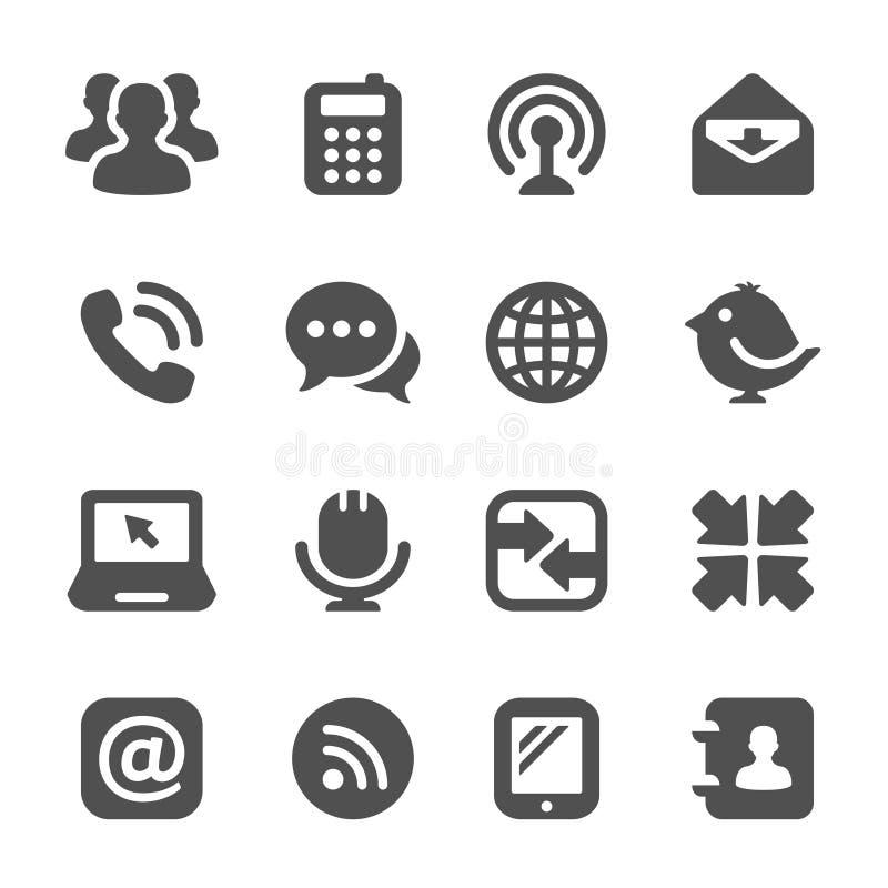Черные иконы связи иллюстрация вектора
