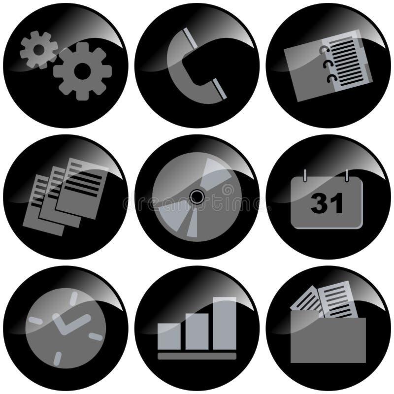 черные иконы иллюстрация вектора