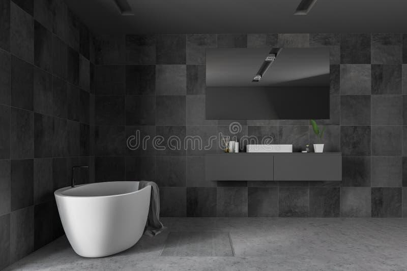 Черные интерьер, ушат и раковина bathroom плитки бесплатная иллюстрация