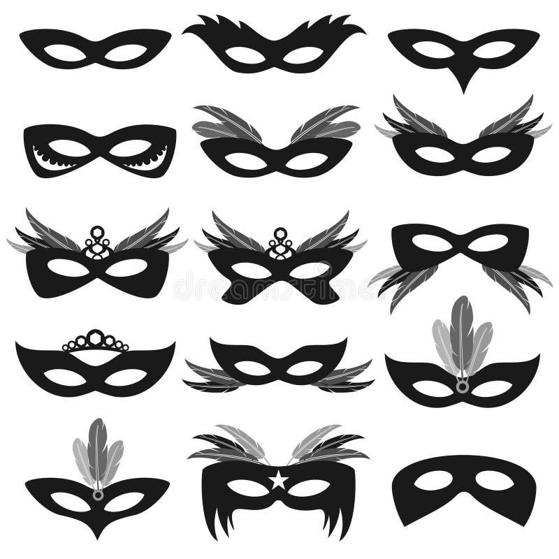 Черные лицевые щитки гермошлема партии масленицы изолированные на белом комплекте вектора иллюстрация штока