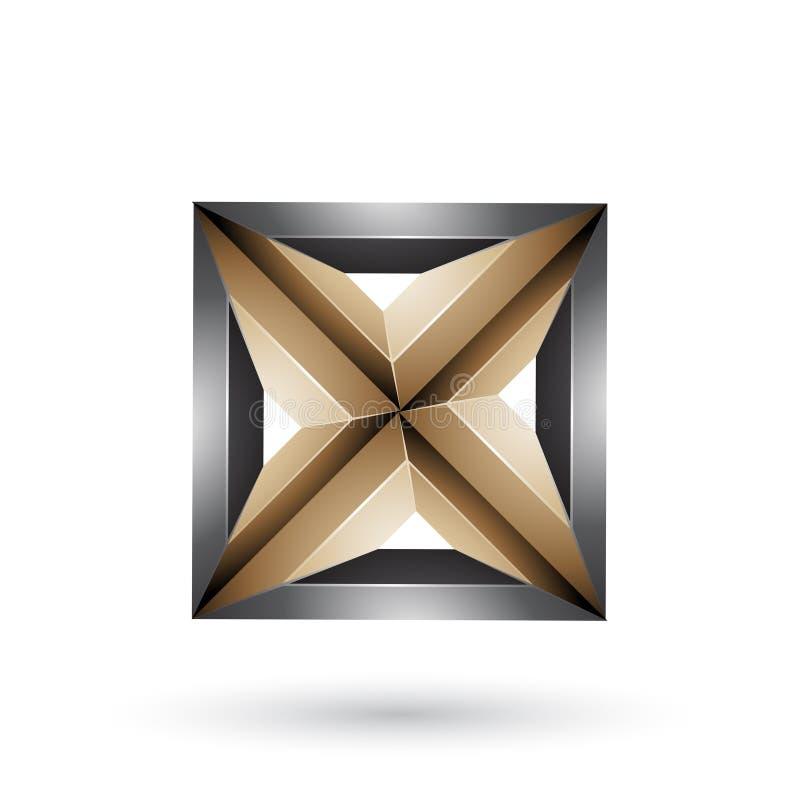 Черные и бежевые геометрические выбитые квадрат 3d и треугольник формируют изолированный на белой предпосылке иллюстрация штока