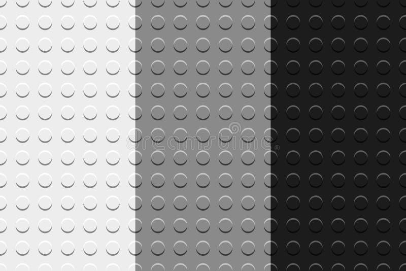 Черные картины белых и серых плит игрушки детей строительных блоков безшовные устанавливают, vector иллюстрация вектора