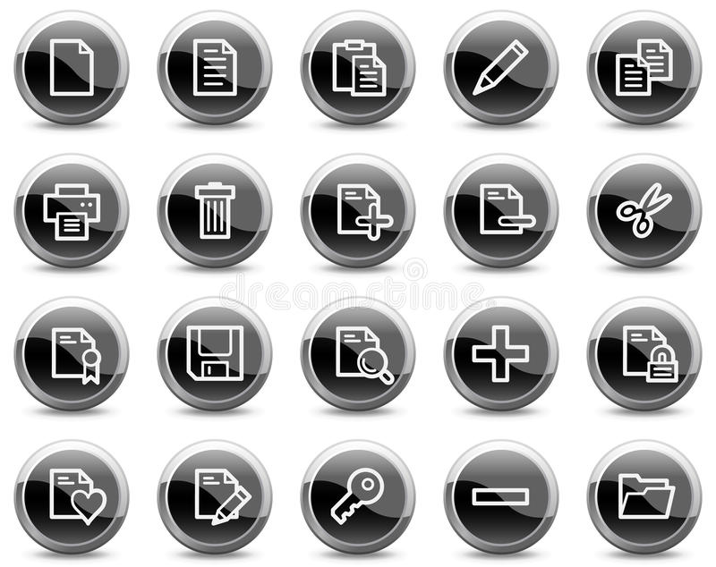 черные кнопки объезжают сеть икон документа лоснистую