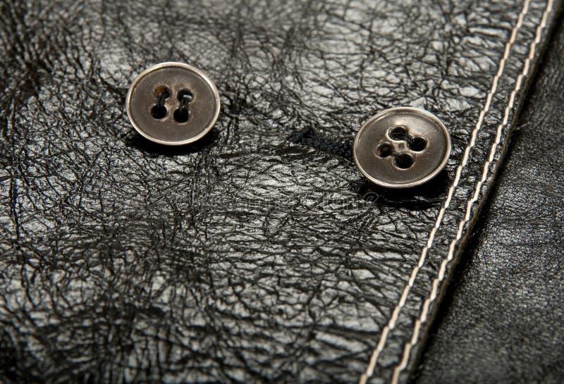 черные кнопки одевая кожаный металл стоковая фотография rf