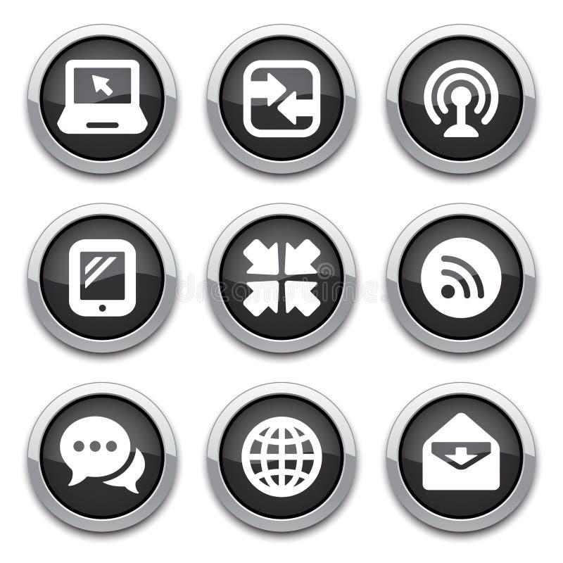 Черные кнопки связи иллюстрация штока