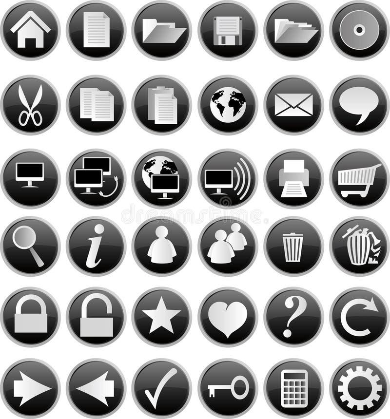 черные кнопки иллюстрация вектора