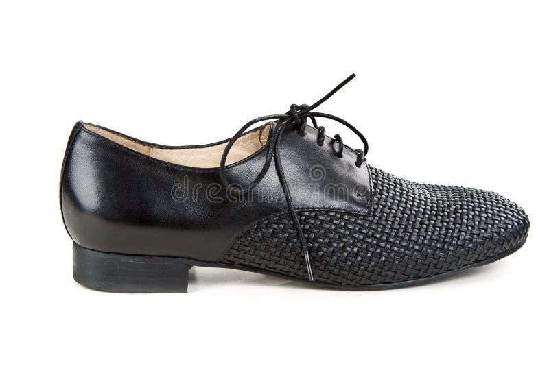 черные кожаные ботинки стильные стоковая фотография rf