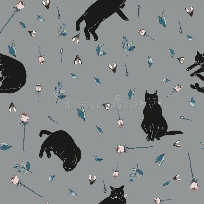 Черные коты и розовые розы с зелеными листьями на серой иллюстрации предпосылки картина безшовная бесплатная иллюстрация