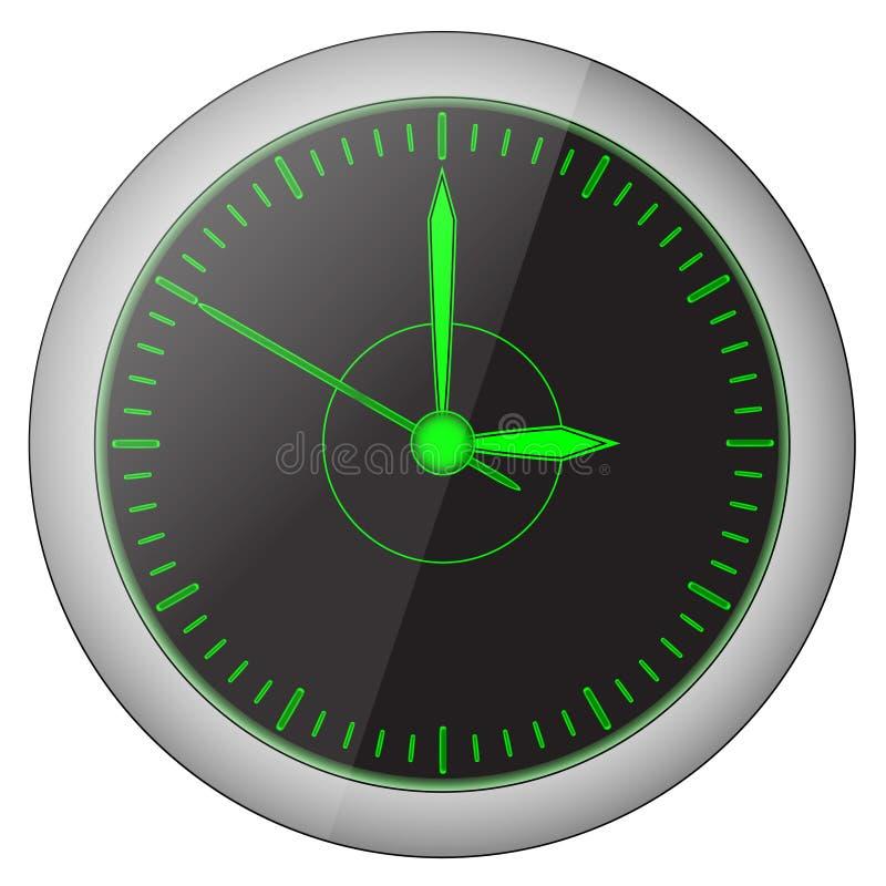 Черные красивые часы с зелеными стрелками бесплатная иллюстрация