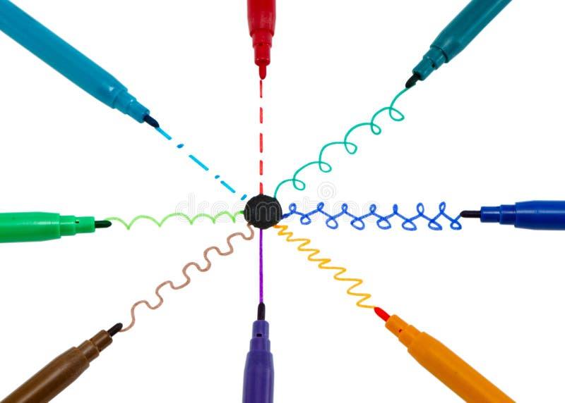 Черные линии краски ручки кривого центра многоточия чувствуемой подсказки стоковое фото