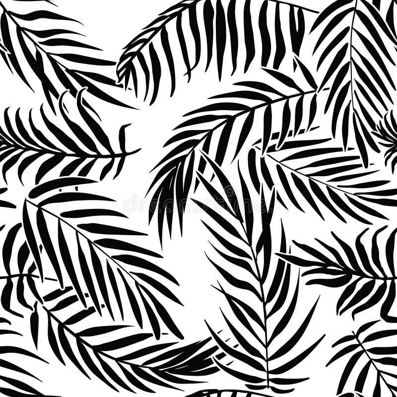Черные листья ладони на белой предпосылке Картина вектора тропического силуэта безшовная иллюстрация вектора