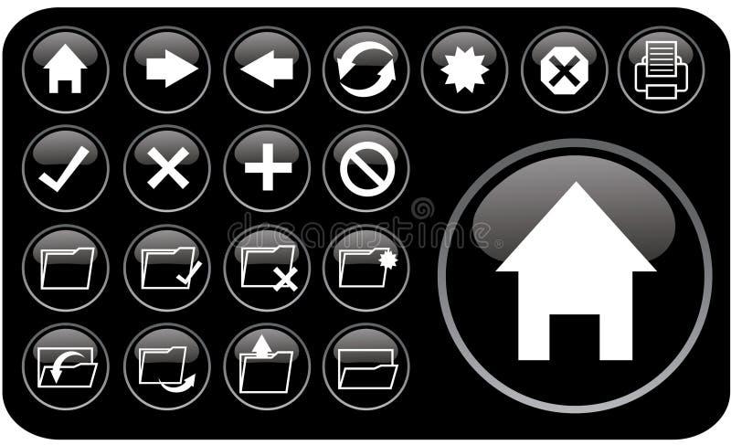 черные лоснистые иконы part2 иллюстрация вектора