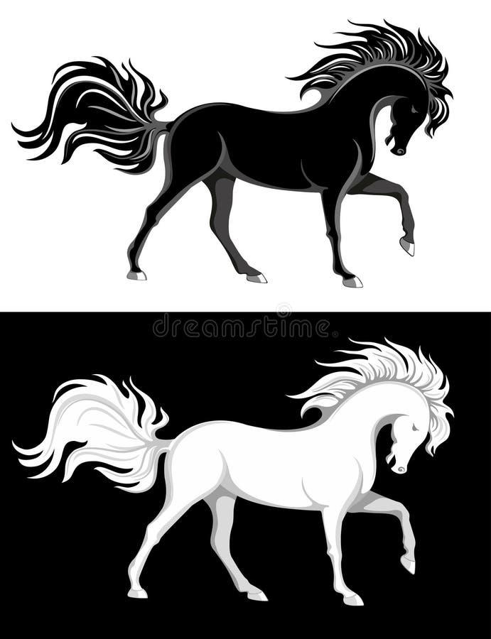 черные лошади белые иллюстрация вектора