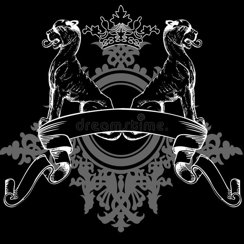 черные львы heraldry кроны бесплатная иллюстрация