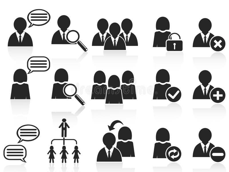 черные люди икон установили социальный символ иллюстрация вектора