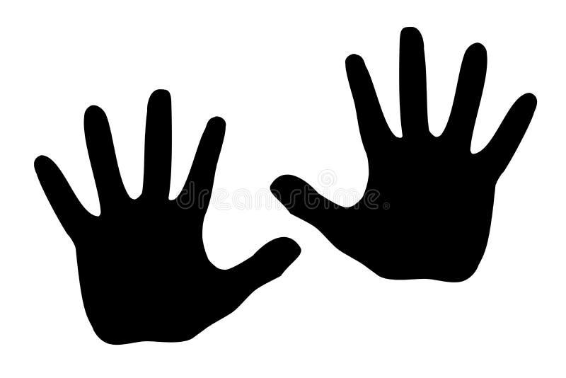 Черные люди ладони модели силуэта Рука, изолированная на белой предпосылке вектор Знак стопа иллюстрация вектора