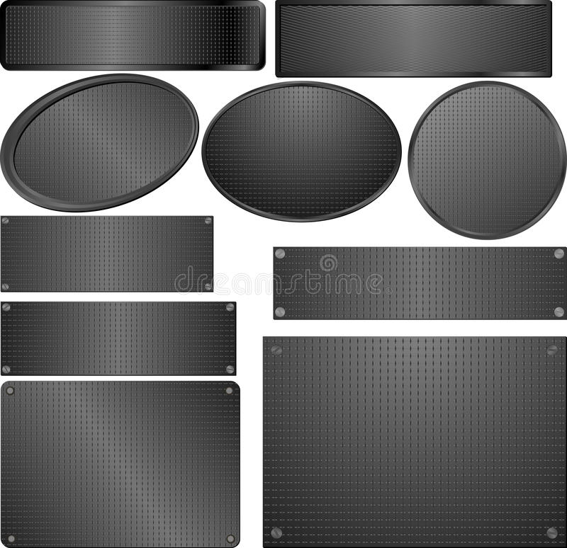 Черные металлические пластинкы иллюстрация вектора