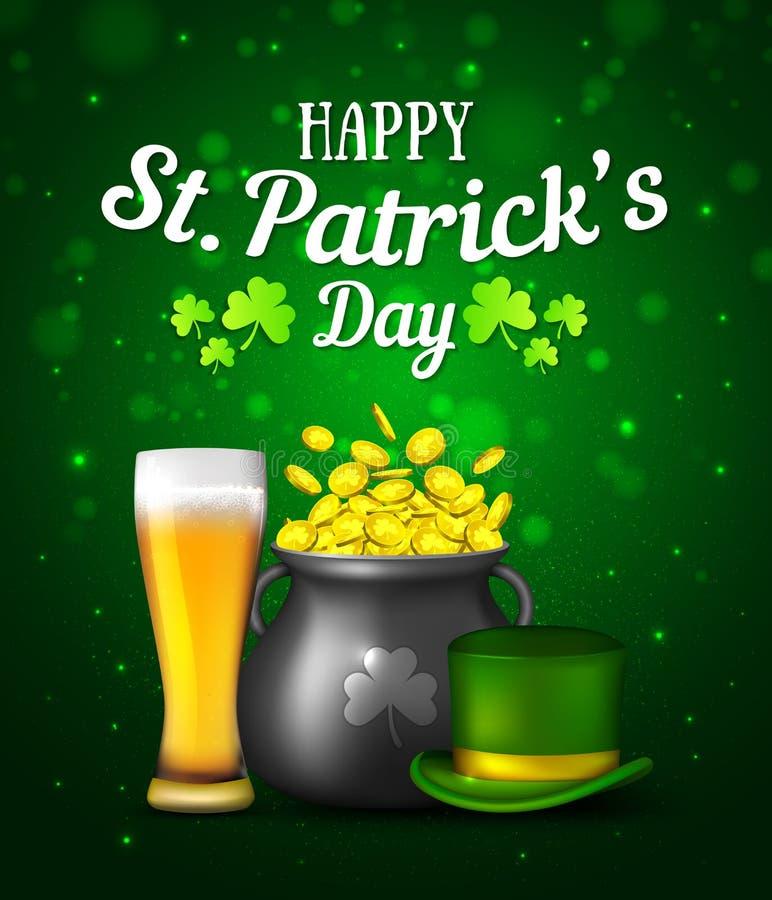 Черные монетки горшка с золотом, стекло пива и шляпа на зеленой предпосылке Ирландский день ` s St. Patrick праздника иллюстрация вектора