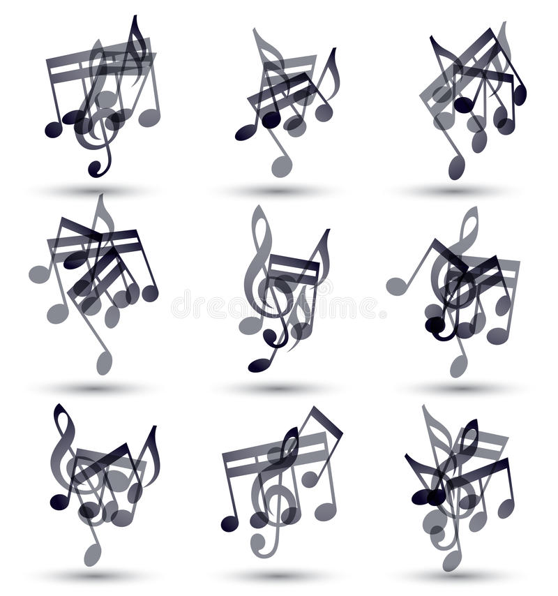 Черные музыкальные примечания и символы изолированные на белизне бесплатная иллюстрация