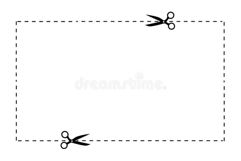 Черные ножницы и поставленные точки линии отрезка белизна изолированная предпосылкой икона вектор иллюстрация штока
