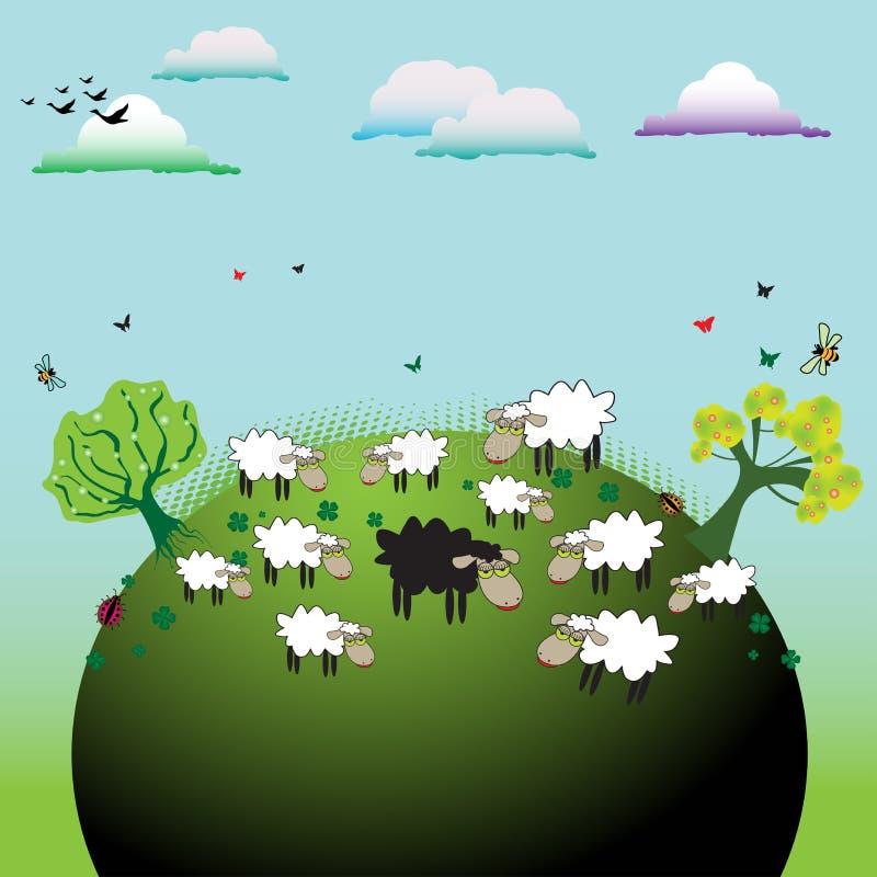 черные овцы иллюстрация вектора