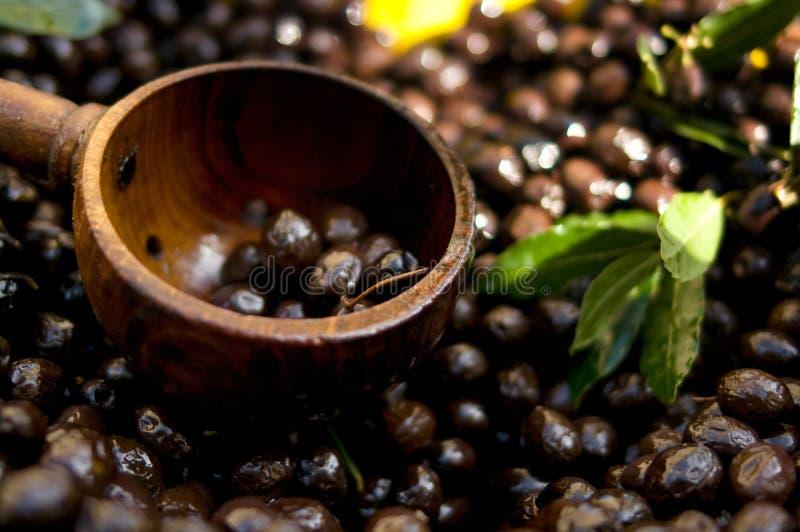 черные оливки уполовника стоковое изображение