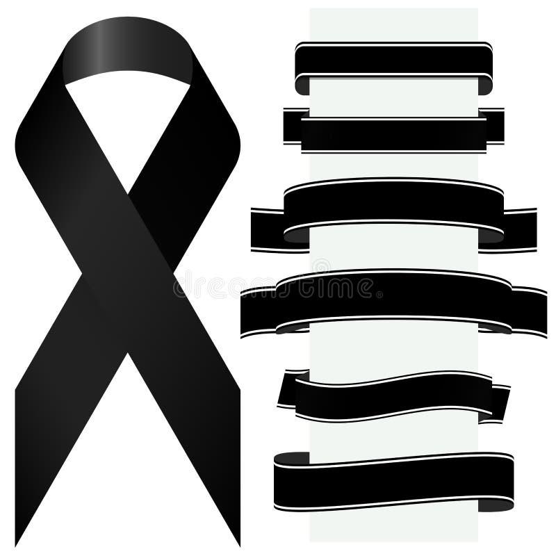 черные оплакивая лента и знамена бесплатная иллюстрация