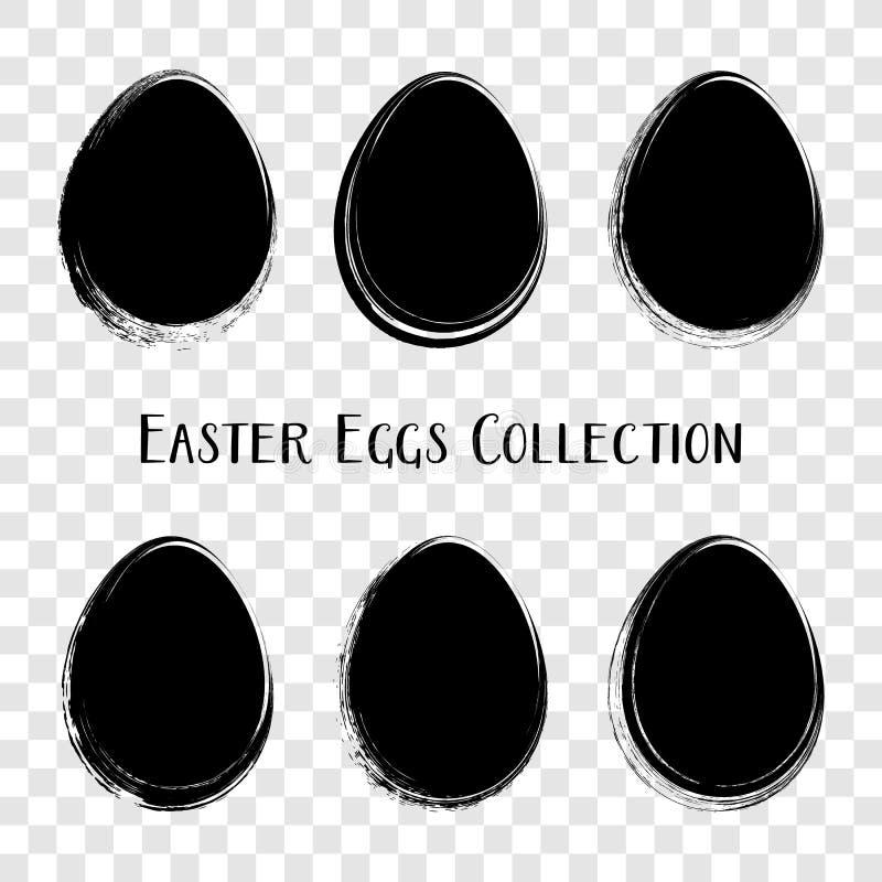Черные пасхальные яйца вектора чистят стиль щеткой хода иллюстрация вектора