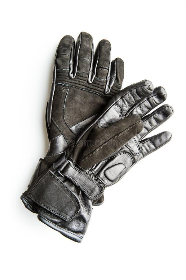 Черные перчатки мотоцикла стоковая фотография rf