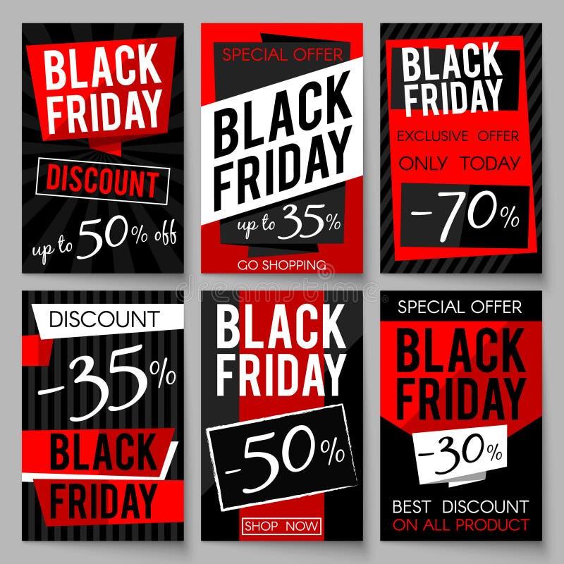 Черные плакаты рекламы продажи пятницы vector шаблон с самыми лучшими ценой и предложением бесплатная иллюстрация