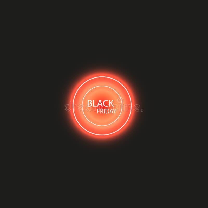 Черные плакат или знамя продажи пятницы Накаляя красочный круг с световым эффектом красного света на черной абстрактной предпосыл иллюстрация штока