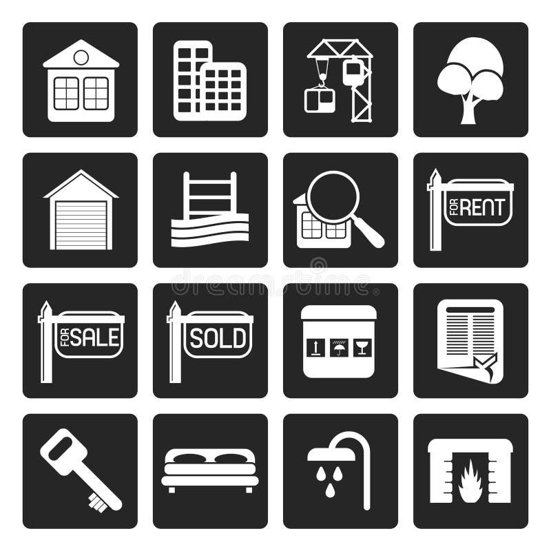 Черные простые значки недвижимости иллюстрация штока