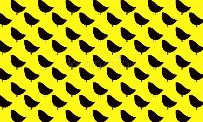 Черные птицы на желтой предпосылке E иллюстрация штока