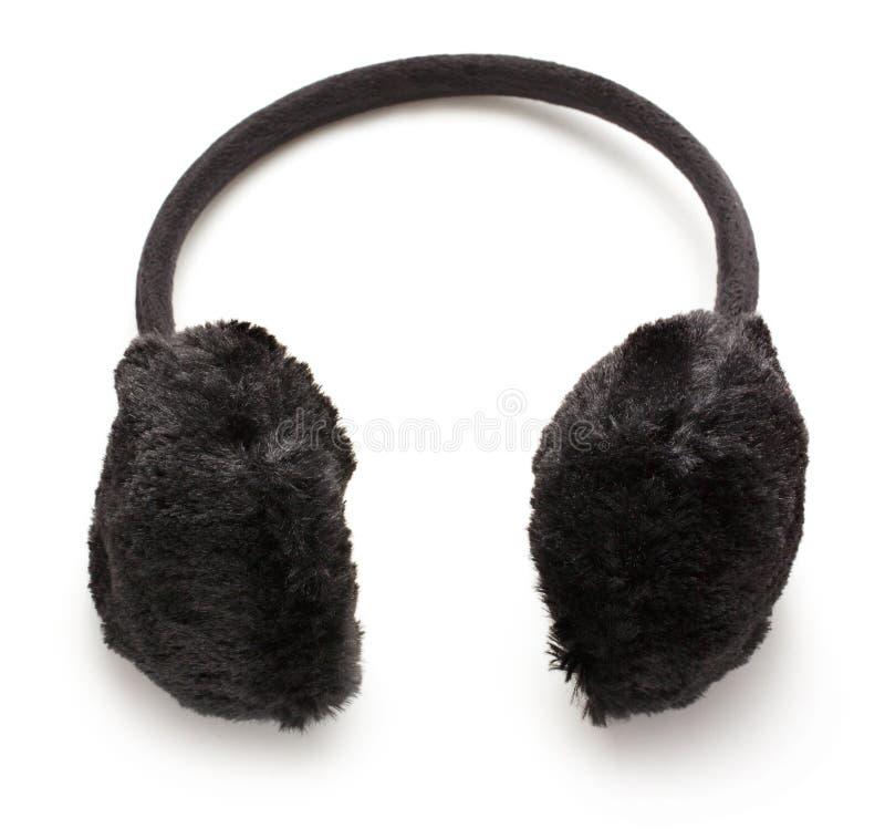 Черные пушистые Ух-халявы зимы стоковые фотографии rf