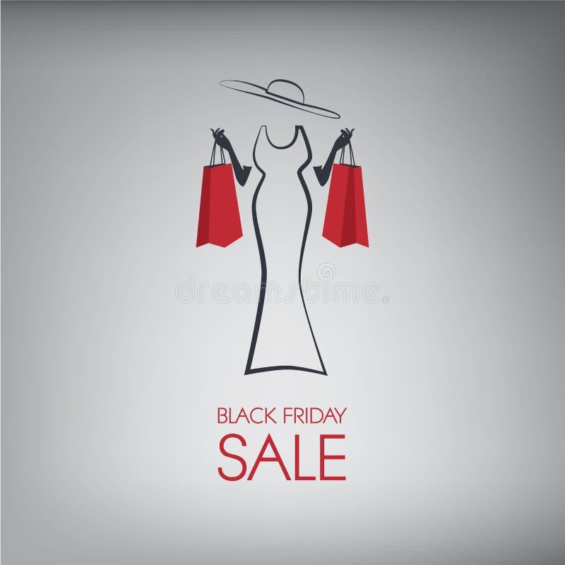 Черные плакат или рогулька покупок пятницы EPS10 иллюстрация штока